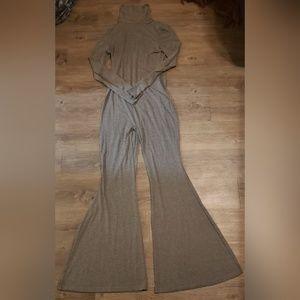 Pants - Women's Grey Long Sleeve Turtleneck Jumpsuit